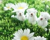 3 pcs Teddy Bear Doll Charm (40-45mm) Pure  White DO072