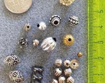Various shaped metal beads F1