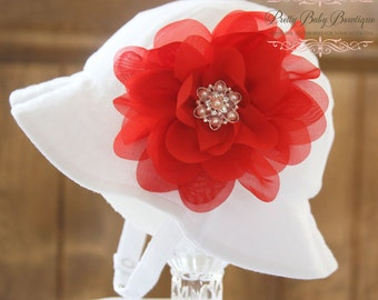Baby Sun Hat Large Red (Removable) Flower Clip With White Sun Hat-(You Pick Size)