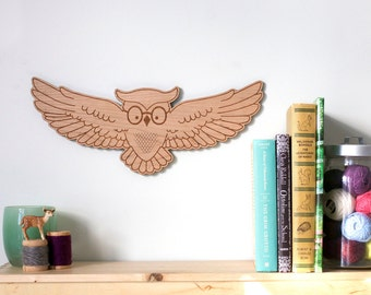 Wise Owl wall art - Children's library original wood illustration
