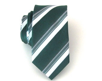 Mens Necktie Dark Green Gray and White Stripes Skinny Tie