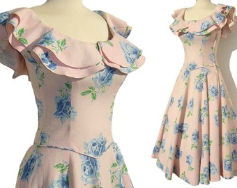 Vintage 50s Dress Pink & Blue Rose Floral Full Circle Skirt Pique Cotton S XS