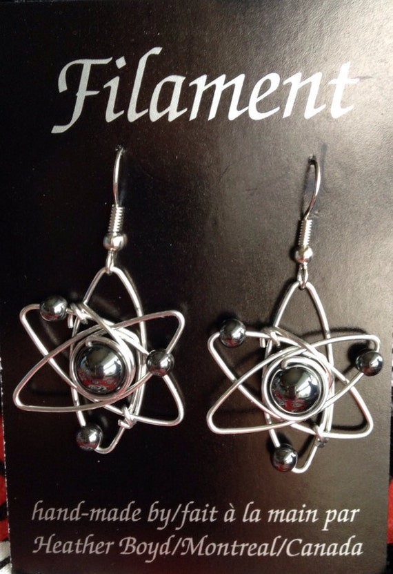 Atom Earrings inspired by The Big Bang Theory. Great geek gift idea. Hematite beads and wire.