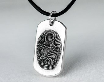 Fingerprint  Dog Tag Necklace Personalized Sterling Silver Thumbprint Jewelry