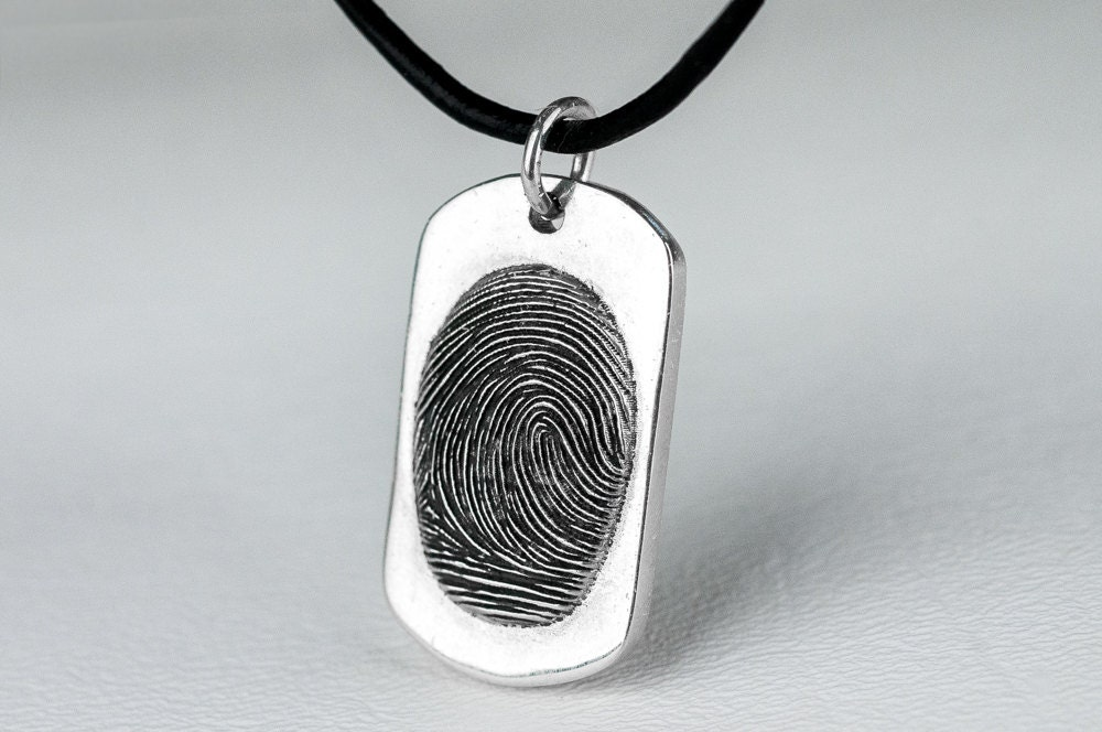 Fingerprint dog tag necklace personalized sterling silver for Just my style personalized jewelry studio