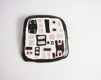 Geometric Ceramic Brooch Vintage 80s Jewelry