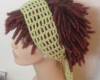 Cotton Dread Headband in Lime