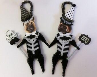 Akita SKELETON Halloween vintage style CHENILLE ORNAMENTS set of 2