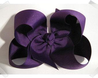 Large Loopy Style Grosgrain Hair Bow in Purple