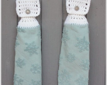 Hanging Kitchen Towels ,Crochet Button Top, Matching Pair,Hostess Gift, Textured Hanging Kitchen Towel Set,Dish Cloths, Snowflakes