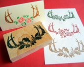 Buck Deer Antler Rubber Stamp with Roses, Oak Leaves or Holly  - Handmade by Blossom Stamps