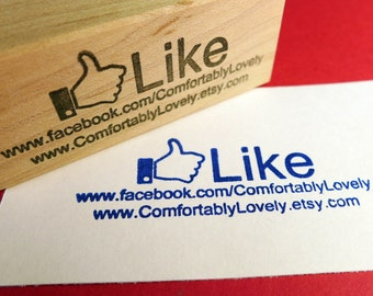 Facebook Like Me Personalized Rubber Stamp  packaging business cards-  Handmade by BlossomStamps