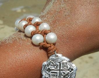Beach Jewelry, Beach Bracelet, Pearl Beach Jewelry, Atocha Treasure Coin Jewelry, Ancient Coin Jewlery Beachy Atocha Shipwreck Coin Bracelet
