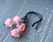 Pink Bliss Earrings, Pink Jewelry Oxidized Copper Vintage Glass Beads Salmon Pink Handmade Jewelry Drop Earrings Dangle