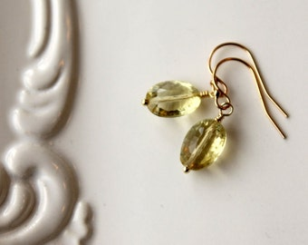 Yellow Gemstone Earrings / Lemon Quartz Gold Earrings / Yellow Quartz 14K Gold Fill Earrings / Wedding Earrings / Drop of Sunshine Earrings