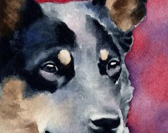 AUSTRALIAN CATTLE DOG Art Print Signed by Artist D J Rogers