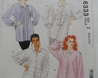 McCall's Misses Blouses Pattern N 6333, Uncut, Sizes Xlg and XXL