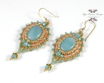 Bijou Earrings, Bead Embroidery, Pale Green, Gold