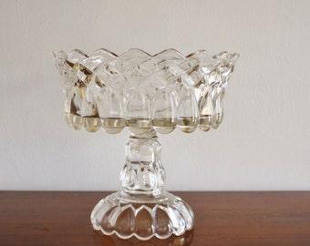 Vintage glass compote, serving bowl