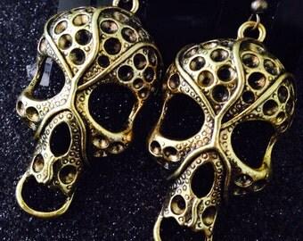 Day of the Dead Día de los Muertos Zombie Skull Walking Dead Brass Skull Earrings Ready to Take A Bite Out of You