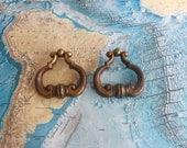 SALE! 2 vintage brass metal open pull handles