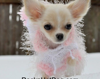 Small White Hoody- Chihuahua- Dog Sweater- Puppy- Tiny Dog- Dog Clothes - Yorkie Clothes
