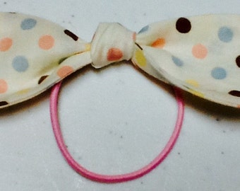 Ponytail Bow on Elastic  polka dot