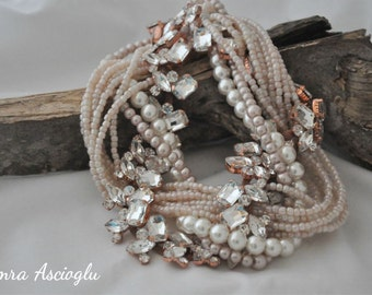 Pearl Statement Necklace, Vintage Inspired Necklace, Wedding Choker Necklace, Rhinestone Statement Necklace, Bridal Wedding Necklace