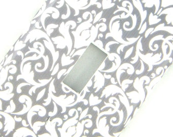Damask Light Switch Cover -- Grey and White