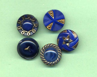 Group Of Five Deep Blue Glass Buttons With Gold Luster