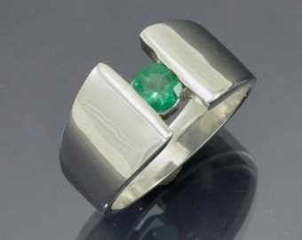 High Polish Silver Ring with Channel Set Natural Emerald Center Stone