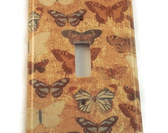 Light Switch Cover Wall Decor Switchplate  Single Switch Plate in  Vintage Butterfly (224S)