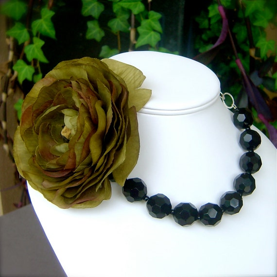 Opera Rose In Olive Silver Statement Necklace Bridal Wedding Jewelry