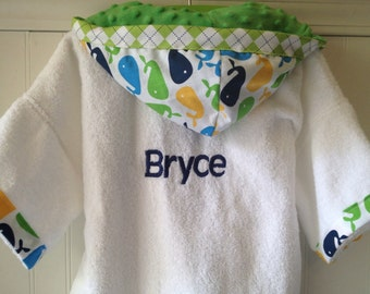 PERSONALIZED-Boys-Boy-Robe-Child-Robes-Bath-Swim-Sleepwear-Blue-Whales-Children-Bathrobes-Beach-Hooded-Terry-Towel-Cover Up-Baby-Kids Robes