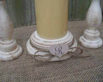 Shabby Chic Wood Wedding Monogram Unity Candle Holder Set - You Pick Color - Item 1558