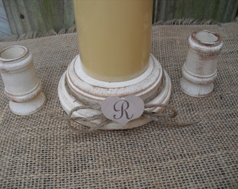 Shabby Chic Wood Wedding Monogram Unity Candle Holder Set - You Pick Color - Item 1560