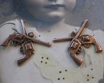 Copper Ox Plated Double Six Shooter Gun Charms 165COP x2