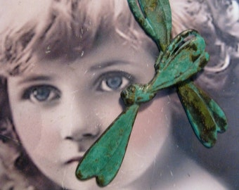 Verdigris Patina Art Deco Style  Large Dragon Fly Stampings 543VER x2