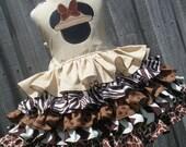 Made to Order Custom Boutique Mickey Minnie Animal Safari Ruffled Dress Girl 2 3 4 5 6 7 8