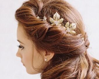 Gold leaf and rhinestone bridal hair pins - Style Soulmates no. 1987