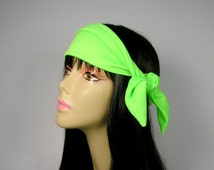 Neck Scarves Bandanas Neon Green Bandanas Mens Do Rags Neon Head Wraps Mans Hair Scarf Bandanas Hair Ties Lycra Head Wraps Yoga Head Wraps