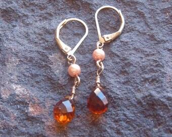 Earrings, Vintage Amber Crystal Drop Earrings in Gold Tone