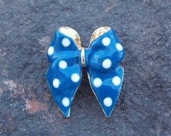 Brooch, Pin, Vintage Jewelry, Vintage Blue Polka Dot Bow Brooch