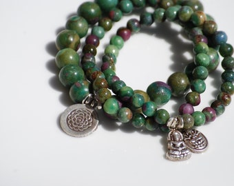 Ruby Fuchsite Beads and Sterling Silver Ganesh Charm Bracelet, Stacking Bracelet