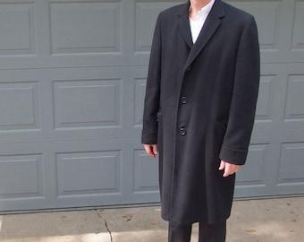 Mens Vintage Black Italian Cashmere Overcoat, Size 40L