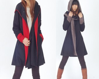 Far Away from Home - cashmere hood coat / quilted woolen jacket (Y1121)