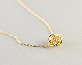 Gold Knot Necklace, Knotted Jewelry, Bridesmaid Gift , Love Knot Necklace