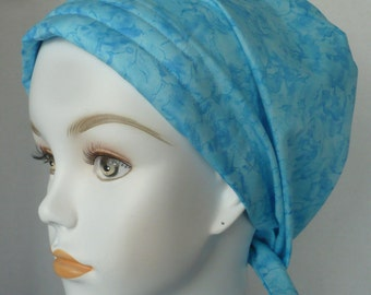 Ice Blue Gem Stone Chemo Scarf Cancer Turban Hat Cotton Bad Hair Day Head Wrap Covering