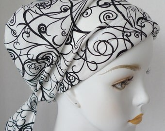 Black White Swirl Chemo Scarf Cancer Turban Hat Cotton Bad Hair Day Head Wrap Covering