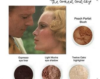 Get the Look The Great Gatsby set, Peach parfait blush, espresso eyeliner, Twelve oaks highlighter, Light Mocha eye shadow.